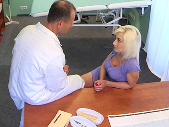 Fake hospital shaven russian pussy fucked hard by doctor 9