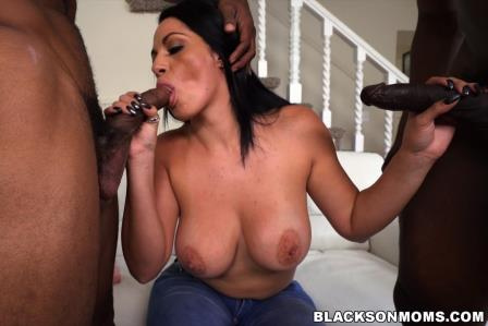 Blacks On Moms – Busty MILF with a huge ass takes on two cocks