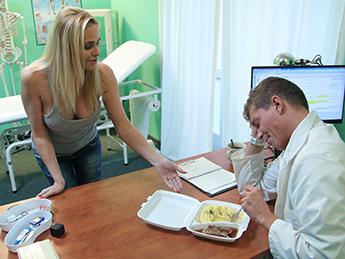 Fake Hospital – Blonde MILF Feeds Then Fucks Doctor