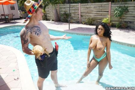 Big Tits Round Busty Katt Garcia breaks in a new cock