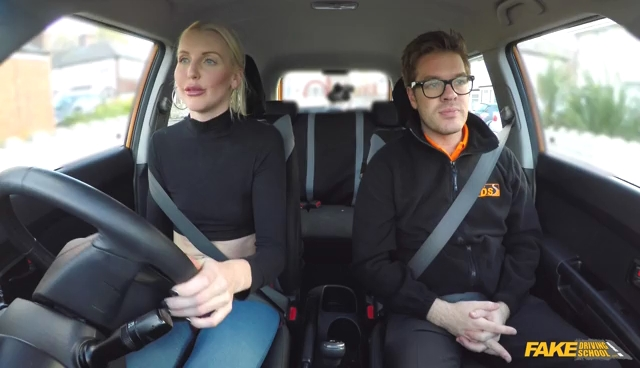 FakeDrivingSchool Confident Learner Squirts and Cums