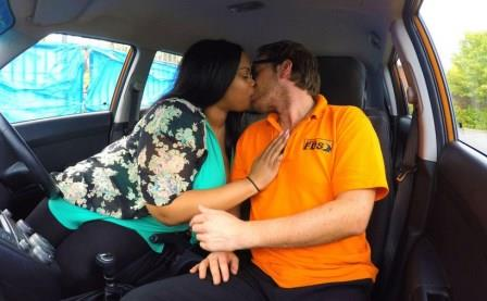 Fake Driving School Big Busty Black Beauty Banged