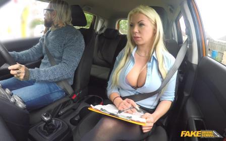 FakeDrivingSchool Busty blonde is cum hungry on test