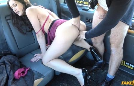 FakeTaxi Sexy petite brunette does anal