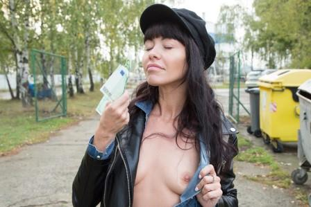 Public Agent Mouthful of cum for sexy brunette