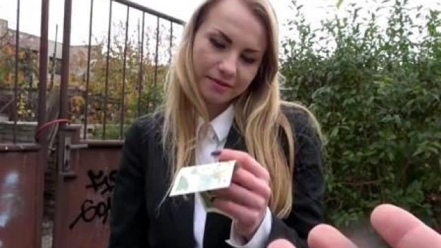 Public Agent Cute Russian fucked through tights